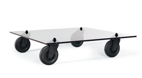 Items Similar To Aulenti And Fontana Arte Inspired Glass Coffee Table With Industrial Casters On