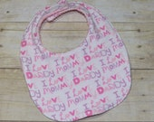 Sale I Love Mommy and Daddy Baby Girl Bib in Pink