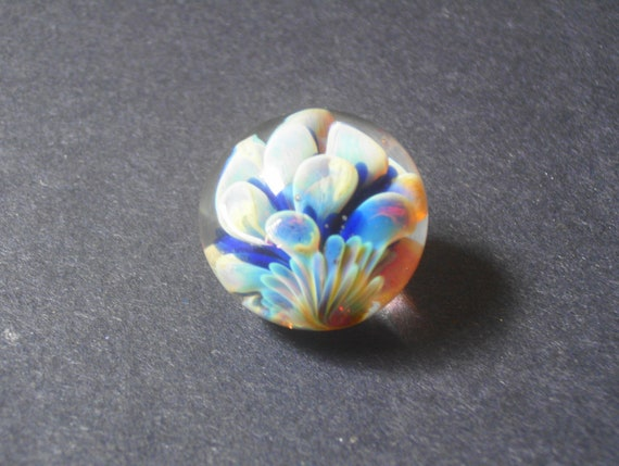 Handmade Glass Flower Marble in Silver and Cobalt, Glass Marble