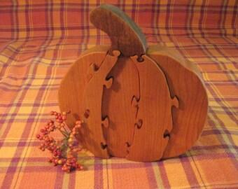 wooden pumpkin puzzle
