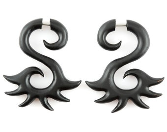 "Fake Gauge Earrings - Wood Tribal Earrings Fake Piercing - Sono Wood ""Black Sunshine Snake Spiral"" Earrings - No Holes Barred Wood Jewelry"