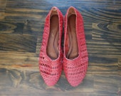 Red Leather Cutout Flats by Hunts Club (size 7.5)