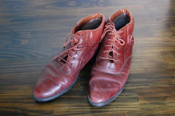 RESERVED Italian Style Red-Brown Booties by Corsina (size 9)