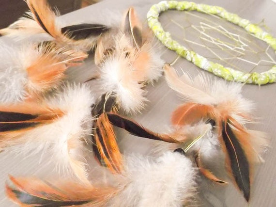 Dream Catcher - Green Happiness - With Natural Brown Feathers, Green Frame and Transitional Green Nett - Home Decor, Mobile