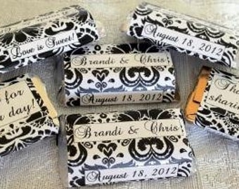 180 DAMASK Pattern Wedding Candy wrappers/stickers/labels for your HERSHEY MINIATURES (Personalized Favors) for any Party or Event