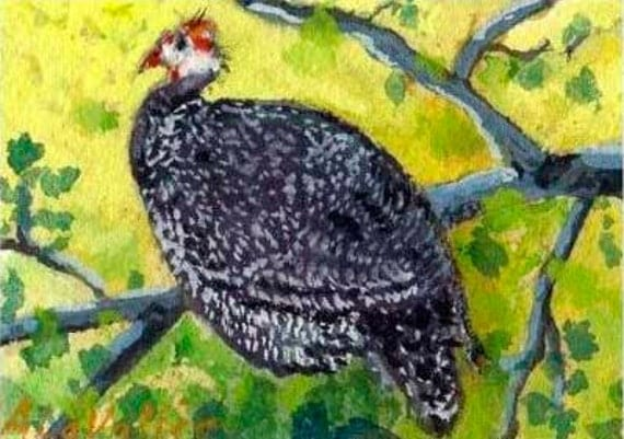 """ACEO Guinea Hen  fowl ORIGINAL tiny painting yellow green black Cottage Style watercolor, gouache Matted to fit 5"""" X 7"""" frame"""