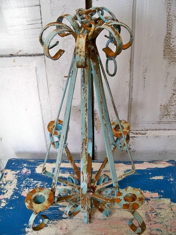 Vintage metal rusty hanging candelier taper holder scroll work blue distressed Anita Spero