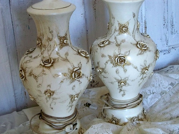 Reserved For J Ornate Cream Lamps Antique Gold Raised Rose