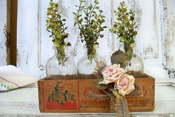 Rustic greenery centerpiece home decor apothecary jar set with