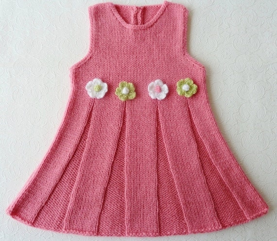 Knitting Dress Baby : Items similar to hand knitted baby dress in pink white
