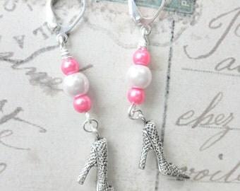 Pink Pearl High Heel Charm Earrings