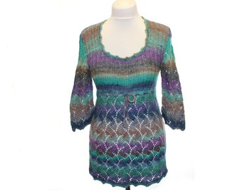 Hand knitted Tunic / lilac green grey dark violet  / wool tunic / Japan yarn Noro / open-work embroidery