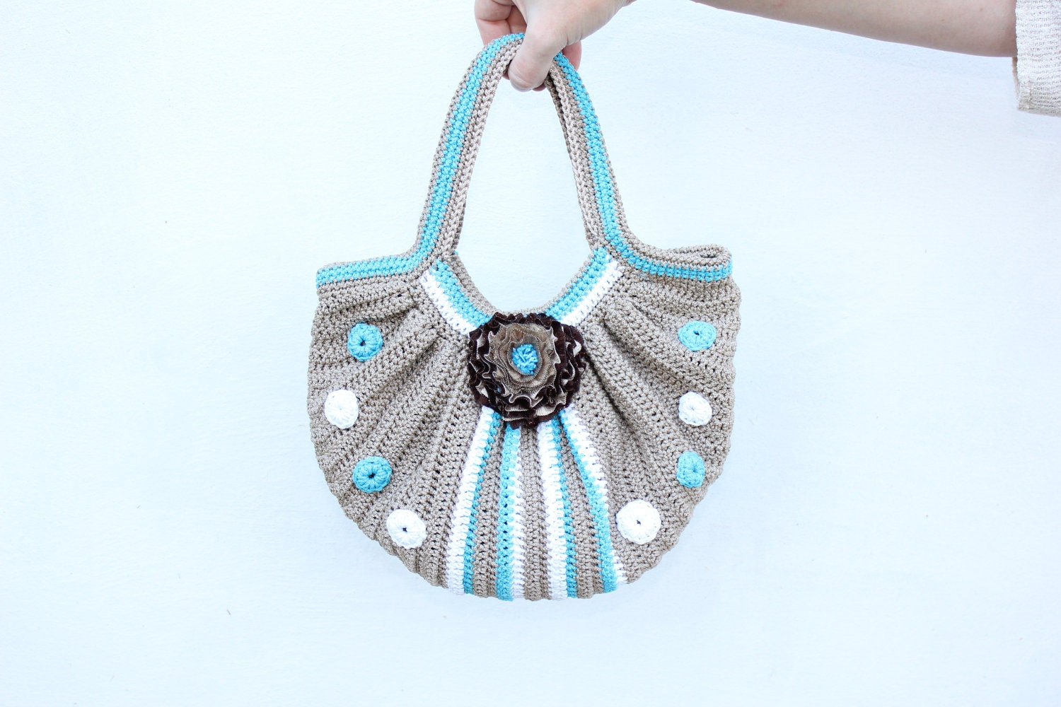 Crochet bag with two handles/ Crochet bag with flower by TaniaSh