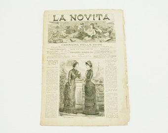 Antique Ladies newspaper, rare 1879 Italian paper ephemera with image of antique dresses