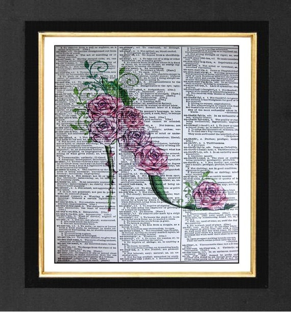 Shoe Art -Pink Roses & Thorns -Pink Roses Prints, Mixed Media art print on 8x10 Vintage Dictionary page, Dictionary art, Dictionary print