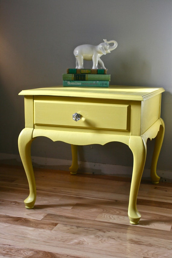 Reserved for my friend Deanna -Sunny Yellow Side Table with Drawer