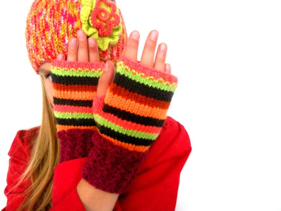 Handknitted fingerless gloves for girls Striped fingerless autumn gloves
