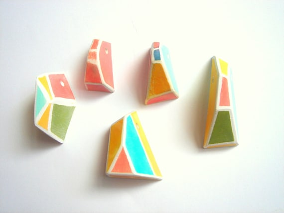 Neon Geometric Faceted Clay Pendans,Do it Yourself  Geometric Jewelry,Hand Painted Ceometric beads
