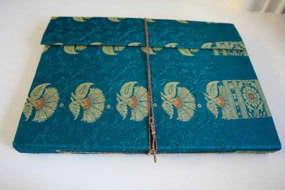 Traditional Indian Large Handmade Recycled Paper Indian Sari Cover photo Album in rich Golden Brocade - unique wedding day gift