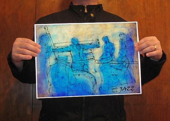Acqua Art print, Satchmo, Louis Armstrong, Original Drawing Art Print
