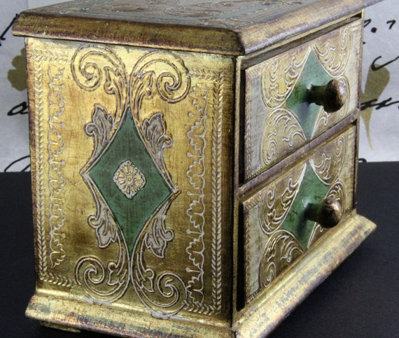 Gorgeous Hand Painted Carved Ornate Gilded Two Drawer Wooden Box Chest