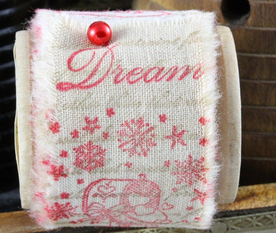 Dreaming Of A White Christmas - Vintage Inspired Hand-Stamped Tea Dyed and Frayed Muslin Trim Around A Charming Wooden Spool