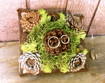 Green Moss Wedding Ring Beaer Pillow Burlab Rustic Forest Weddings