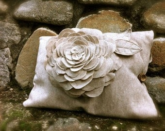 Flower felt pillow case rustic unique home decor