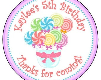 """Personalized """"candy land"""" 2.5"""" round sticker favors - Birthday favor- sheet of 12"""