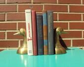 Antique Brass Duck Bookends