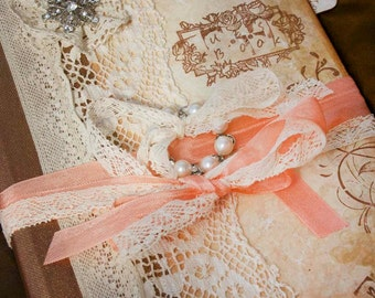 Wedding guest book - Peach and cream in vintage shabby chic style - Custom made