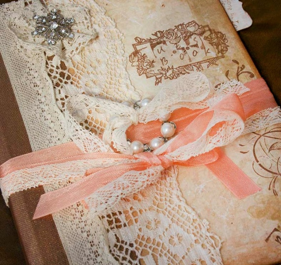 Wedding guest book - Peach and cream in vintage shabby chic style - Custom made - 24 page