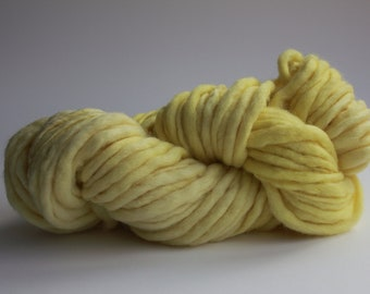 Banana Yellow  Color Hand Spun Hand Dyed Thick and Thin Chunky Wool Knitting Yarn