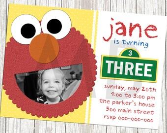Sesame Street Elmo Birthday Invitation - Custom with Photo