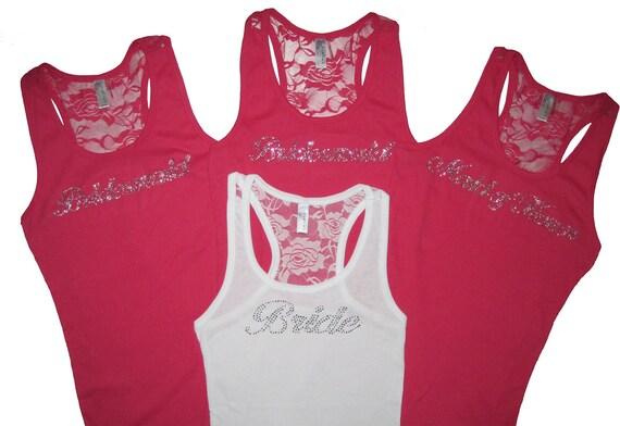 4 Bridesmaid Lace Tank Tops, Bridesmaid Gift, Bridesmaid Shirts, Will You Be My Bridesmaid Gift, Bridesmaid Proposal, Bride Gift, Bride Tank