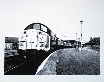 Scotland - 37 Class Locomotive at Inverness Station - limited edition screenprint