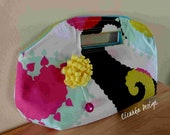Dewdrop toddy mint black cherry petit handbag - pouch clutch purse wristlet women felt cotton handmade yellow pink turquoise brooch party