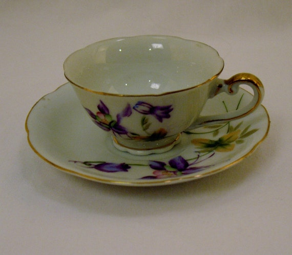 Hand painted porcelain tea cup and saucer