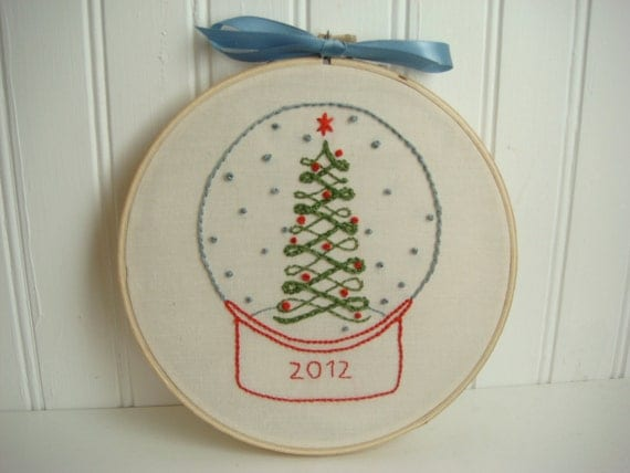 christmas snow globe hand embroidery pattern