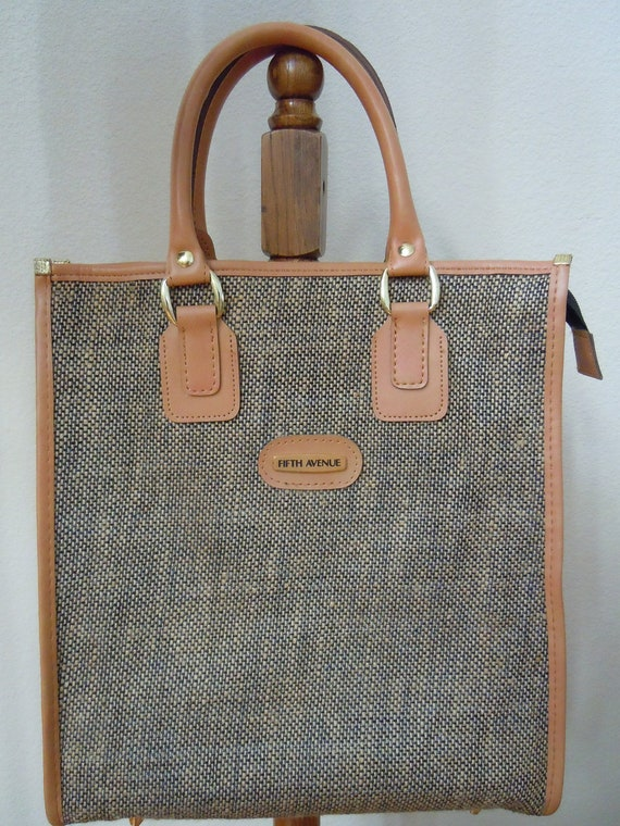 Vintage 1970s Fifth Avenue Tweed Tote / Carry-on / Diaper Bag / Utility Bag