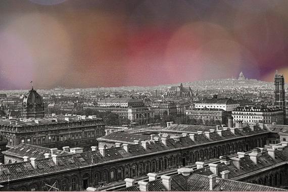 Paris Rooftops from Notre Dame 1949:  Vegas Lights meet City of Lights 12x8 Art Print