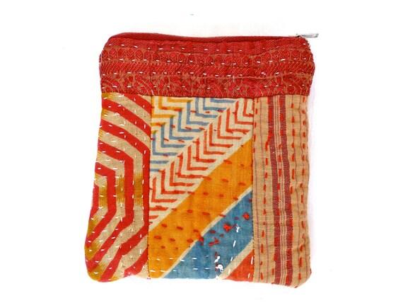 Kantha quilt purse - patchwork makeup / jewelry / coin purse