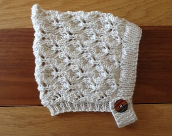 Winter white Pixie  bonnet, Hand knitted Lace Pixie hat,Newborn to 4 years, Made to Order..