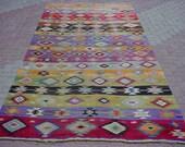 "MODERN Bohemian Turkish Kilim Rug Carpet, Handwoven Kelim Rug,Antique Kilim Rug,Decorative Kilim, Natural Wool  67,7"" X 148,4"""
