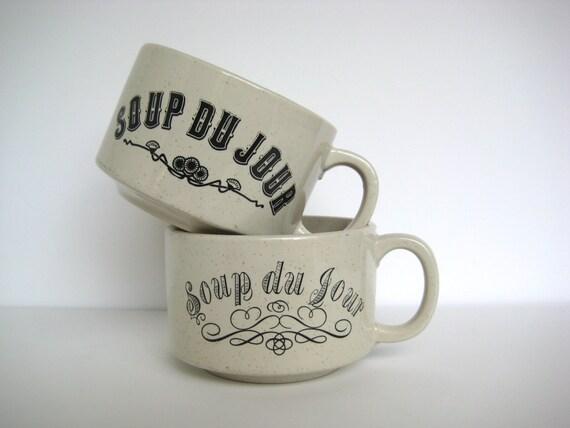 Soup du jour mugs, soup bowls, set of two stackable mugs