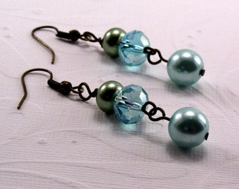 Green and Blue Glass Pearl Earrings