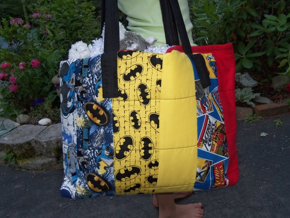 Handmade-Boy's Superhero tote bag- large in size, batman and superman fabrics,