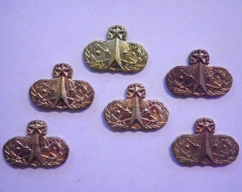 """6 Vintage Brass 3/4"""" Occupational Airforce Master Space and Missle Badges"""