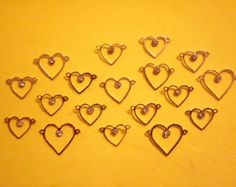 18 Silverplated Assorted 12-18mm Open Heart Connectors with Rhinestone