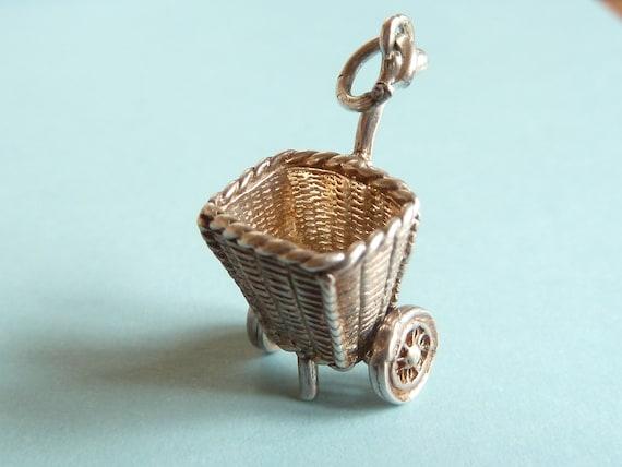 Vintage English Sterling  Silver Charm Shopping Basket or Trolley   Moves Bracelet charm Pendant